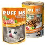 Puffins picnic 85гр соус Мясное ассорти д/кошек 1/26