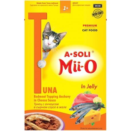 A-Soli Mii-o д/кошек Красное мясо тунца с анчоусом в сырном соусе в желе 80гр пауч