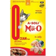 A-Soli Mii-o д/кошек Океаническая рыба с курицей в желе 80гр пауч