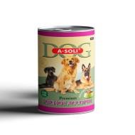 "A-Soli Dog д/собак ж/б 410гр ""Мясное ассорти"" кусочки мяса в желе 1*15"