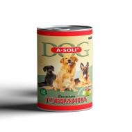 """A-Soli Dog д/собак ж/б 410гр """"Говядина"""" кусочки мяса в желе 1*15"""