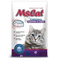 Мисс Кэт конс. д/кошек в соусе кусочки с Говядиной пауч 85гр