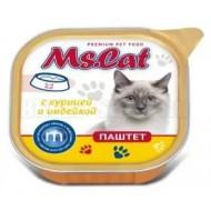 Мисс Кэт конс. д/кошек паштет с Курицей и индейкой 100гр