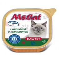 Мисс Кэт конс. д/кошек паштет с Индейкой и телятиной 100гр