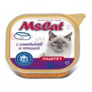 Мисс Кэт конс. д/кошек паштет с Говядиной и птицей 100гр