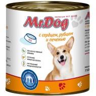Мистер Дог конс. д/собак с Сердцем, рубцом и печенью 410гр