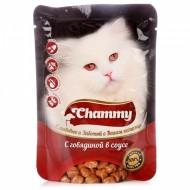 Chammy д/кошек с говядиной в соусе 85гр пауч