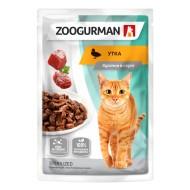 Зоогурман  консервы для кошек Утка в соусе пауч 85гр 1/30