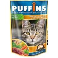 Puffins 100гр пауч для кошек кусочки желе Мясное ассорти*24