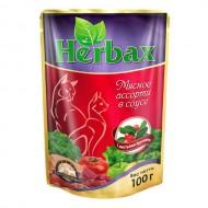 Herbax 100гр д/кошек мясное ассорти в соусе с листьями брусники пауч 1*24