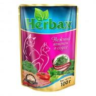 Herbax 100гр д/кошек нежная телятина в соусе с листьями брусники пауч 1*24