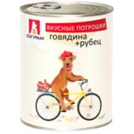 Вкусные потрошки д/собак говядина+рубец ж/б 350 гр 1/20